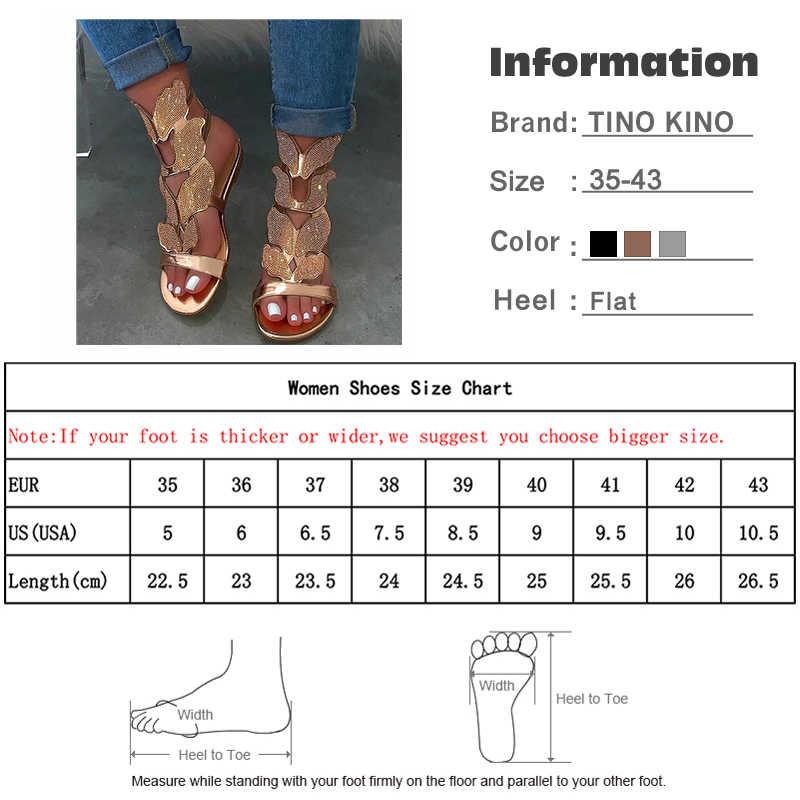 Sandali delle donne di Strass Cinturino Alla Caviglia Piatto Estate Delle Donne Fibbia Gladiatore Scarpe Da Spiaggia Femminile Bling di Modo Delle Signore Più Il Formato