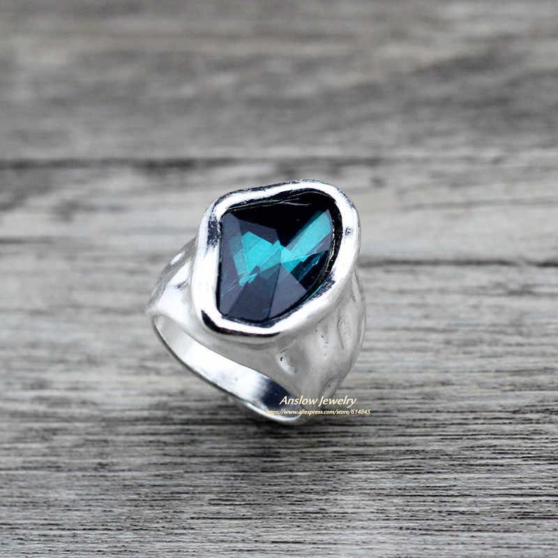 Anslow Desain Asli Fashion Perhiasan Vintage Irregular Crystal Love Pasangan Cincin untuk Wanita Hadiah Hari Valentine LOW0042AR