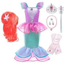 Girl Ariel Dress Kids Christmas The Little Mermaid Costume Children Carnival Birthday Party Fancy Princess Outfit Clothes Wig