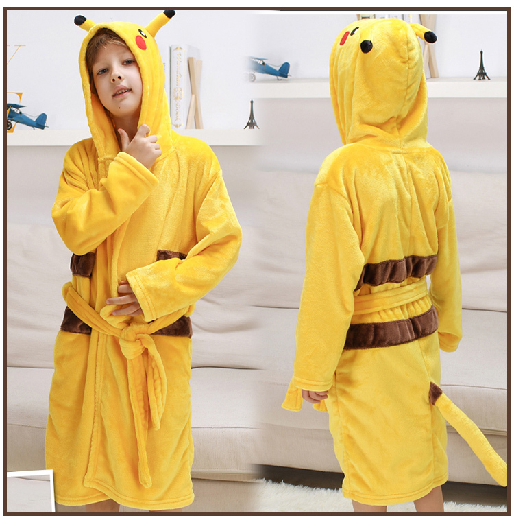 kigurumi Kids Bathrobe Cartoon Baby Bath Robe Stitch Unicorn Animal Hooded Bathrobes For Children Pajamas Boys Girls Robes