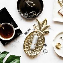 Золотой белый лист ананаса декоративная керамика тарелка для закуски фарфоровые конфеты блюдо с узорами для хранения ювелирных изделий тарелка посуда