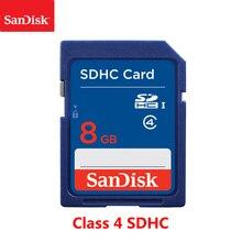 100% 오리지널 sandisk 8 gb sd 카드 클래스 4 sdhc 메모리 카드 8 gb c4 carte sd 카메라 지원 공식 확인
