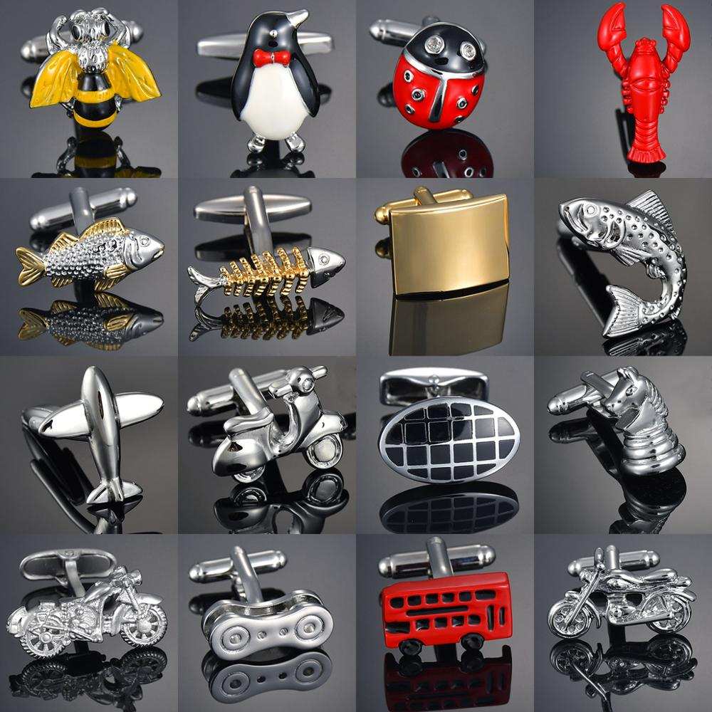 Shirt Cufflinks For Mens Brand Crystal/Bus/Deer/Fish/Dragon Cuff Links Wholesale Luxury Button Male Animal/Vehicle Cufflink