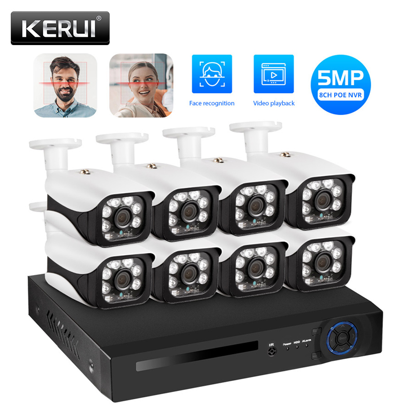 KERUI HD 5MP 8CH NVR Wireless CCTV Outdoor Waterpfoof IP Camera WIFI Home Security Surveillance Motion Detection Alarm NVR Kit