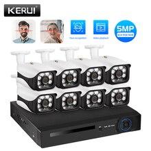 KERUI Kit de NVR POE de seguridad para el hogar, sistema de alarma de vigilancia, 5MP, 8CH, CCTV con cable, cámara IP de agua para exteriores, WIFI, detección de movimiento
