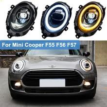 цена на 2pcs Car Styling For BMW Mini Cooper F55 F56 F57 2014-2019 ALL Led headlights head Lamp Angel Eye Led DRL+ Turn signal Light