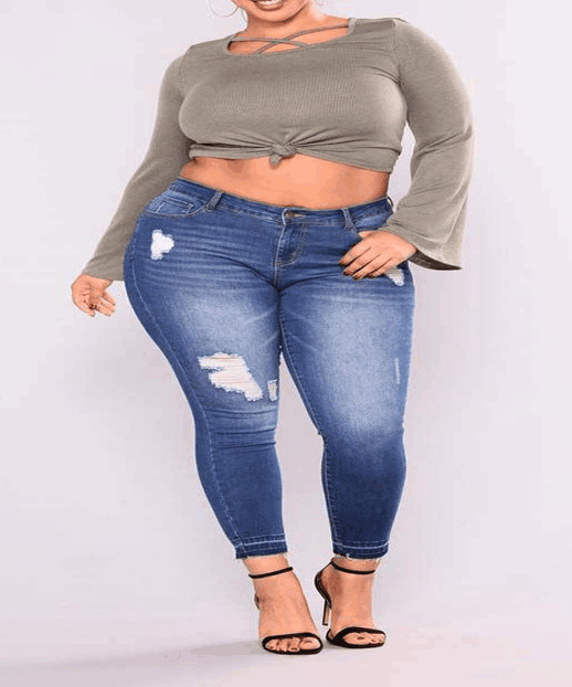Women Ripped 2-7XL Plus Size Jeans Elastic Skinny Pencil Pants Washed Hole Casual Jeans