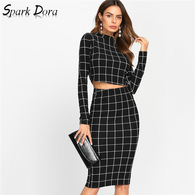SparkDora Stand Collar Long Sleeve 2 Piece Set Women Crop Grid Top And Pencil Skirt Ladies Elegant Office Ladies Two Piece Set