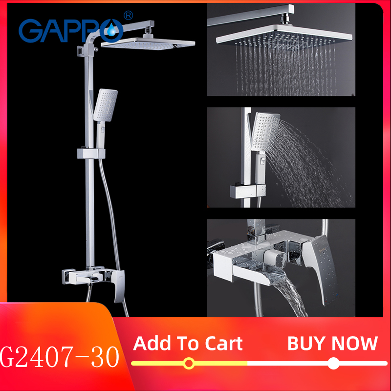 GAPPO Shower System Brass Bathroom Shower Set Wall Mounted Massage Shower Head Bath Mixer Bathroom Shower Faucet Taps G2407-30