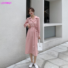2019 autumn new women's Korean temperament suit collar long sleeve double-breasted tie waist large swing dress цена 2017