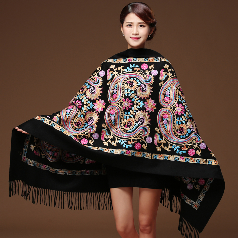 Women Black Embroider Flower Pashmina Cashmere Scarf Winter Warm Fine Tassels Scarf Oversize Shawl Fashion Shawl Scarves