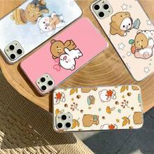 YNDFCNB Milk Mocha bear Phone Case for iPhone 11 12 pro XS MAX 8 7 6 6S Plus X 5S SE 2020 XR fundas
