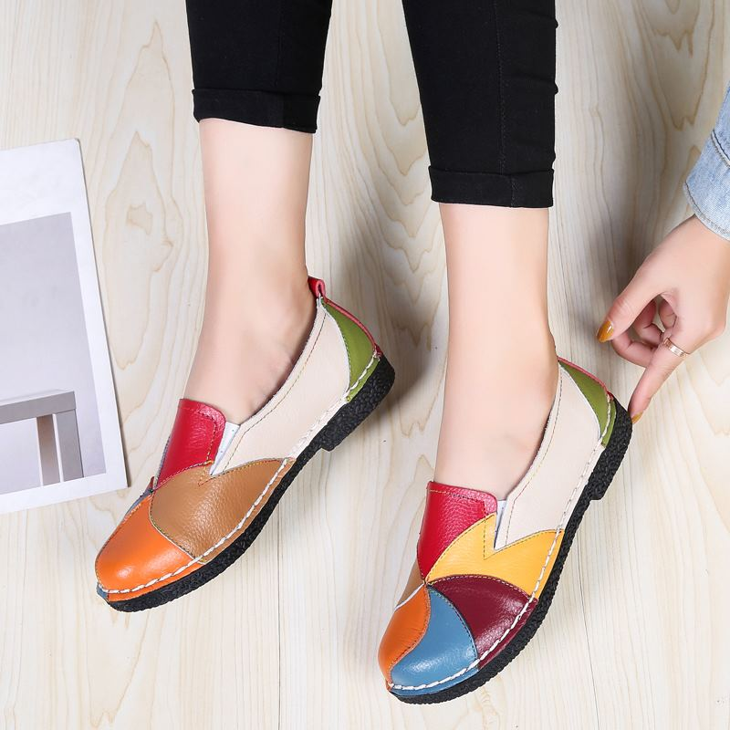 MORAZORA Plus size 35-44 New genuine leather shoes woman mixed colors casual women flats fashion spring summer lady flat shoes 2