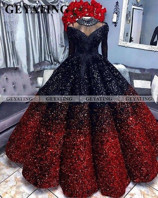 Glitter siyah ve kırmızı balo balo kıyafetleri 2020 zarif kapalı omuz uzun kollu abiye giyim artı boyutu tatlı 16 parti elbise