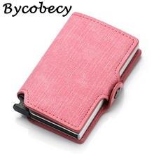 Модный розовый кошелек bycobecy для карт мужской кожаный тонкий