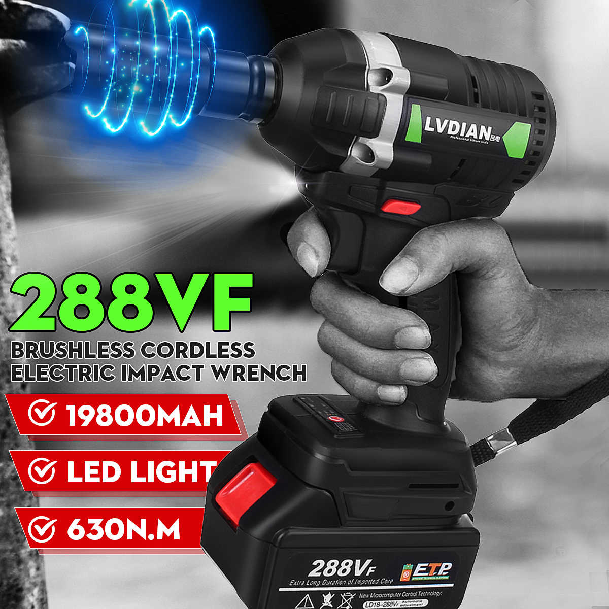 "2020 New 110-240V 288VF 630N.m 1/2"" Brushless LED Cordless Electric Impact Wrench Brush With 1X 19800mAH Li-ion Battery"