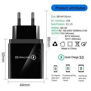 "Image 3 - 48W מהיר מטען 3.0 USB מטען עבור סמסונג A50 A30 iPhone 7 8 Xiaomi mi9 Tablet QC 3.0 מהיר קיר מטען ארה""ב האיחוד האירופי בבריטניה Plug Adapte"