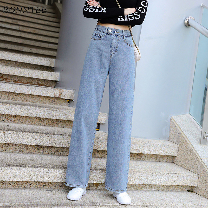 Jeans Women Wide Leg Stretchy Plus Size 2XL Ladies Streetwear Harajuku BF Womens Clothing All-match Girls Simple Leisure Retro
