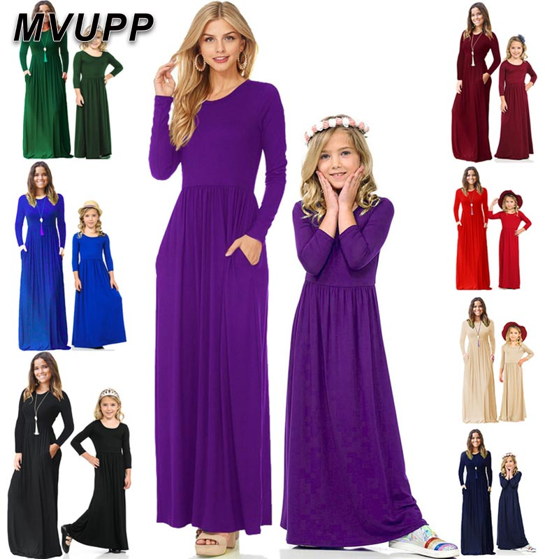 Outfits Mother/&Daughter Solid Romper Dresses Matching Women Girls Family Clothes