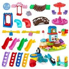 Blocos de parque de diversões acessório slide escada balanço gangorra carrossel grande-partícula cidade construção presente das crianças tijolos brinquedo