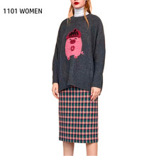 ZA NEW Spring women's black Pig pattern embroidered O-Neck long sleeve preppy style Sweater Sweet female tops(China)