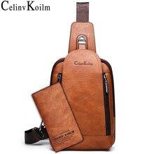 Celinv Koilm 남자 Crossbody 가방 큰 크기 매일 가슴 가방 ipad에 대 한 고품질 대용량 분할 가죽 Daypacks 슬링 가방