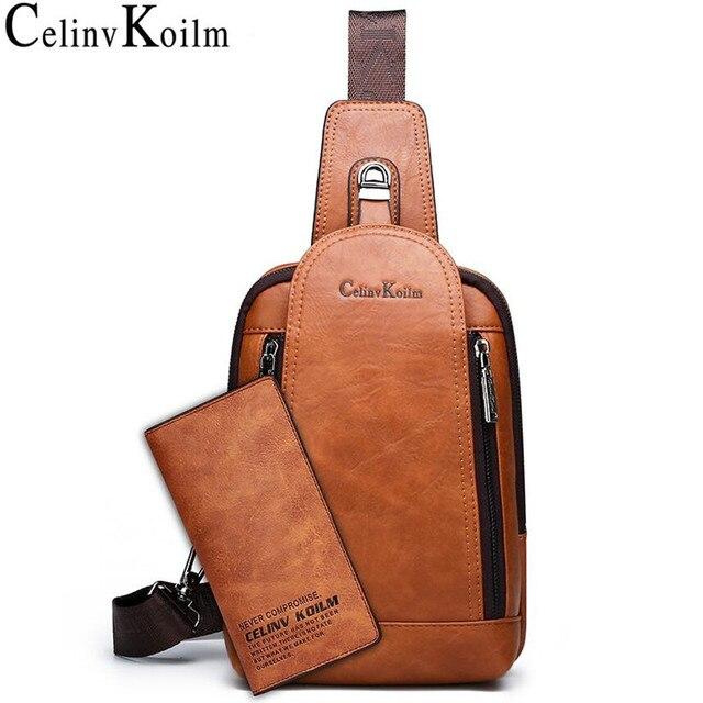 Celinv Koilm גברים Crossbody תיק גדול גודל יומי חזה תיק באיכות גבוהה גדול קיבולת פיצול עור Daypacks קלע תיק עבור iPad