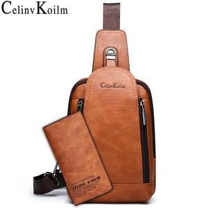 Image 1 - Celinv Koilm Men Crossbody Bag Big Size Daily Chest Bag High Quality Large Capacity Split Leather Daypacks Sling Bag For iPad