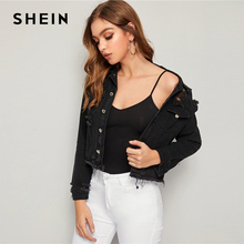 SHEIN Black Wash Ripped Frayed Edge Denim Jacket Coat Women Spring Autumn Single Breasted Long Sleeve Streetwear Casual Jackets