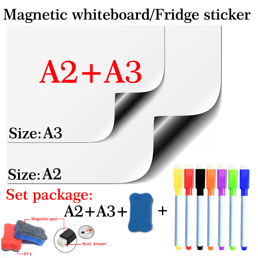 2PCS Magnetic Whiteboard A2+A3 Flexible Pad Magnet Fridge Set Package Soft School Office Kitchen Dry Erase White Board