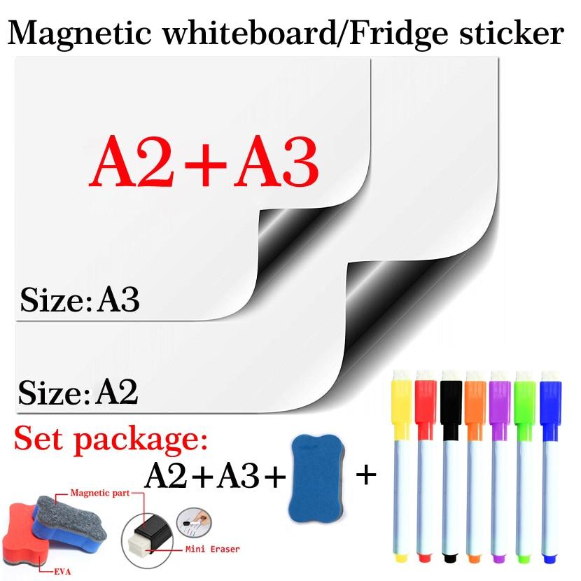 2PCS Magnetic Whiteboard A2+A3 Flexible Pad Magnet Fridge Set Package Soft School Office Kitchen Dry Erase White Board
