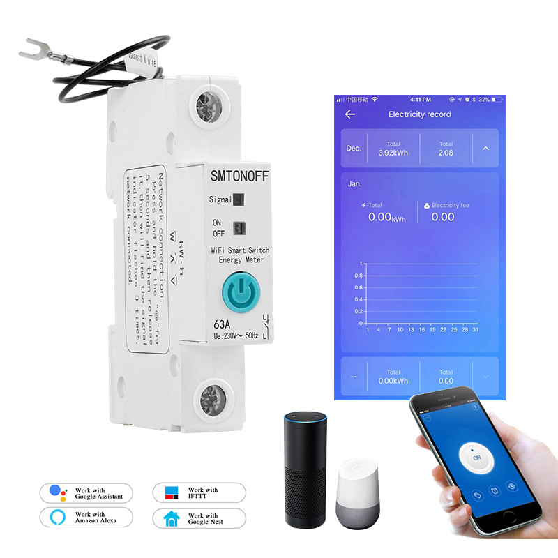 1P EWelink Single Phase Din Rail WIFI Smart Energy Meter Power Consumption KWh Meter Wattmeter With Alexa  Google For Smart Home