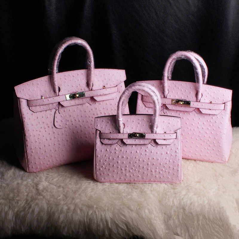 Kulit Asli Wanita Paket Original Edition Kulit Berwarna Merah Muda Warna Burung Unta Paket Butir Tangan Bill Of Lading Bahu Paket 25 Cm