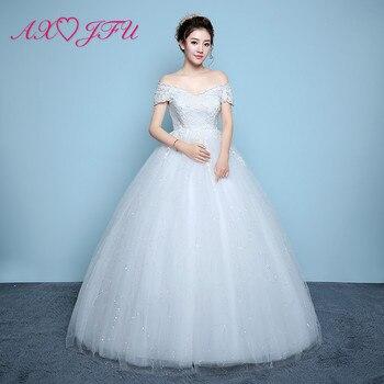 AXJFU flower lace white wedding Dress princess vintage boat neck illusion crystal flower red lace turkey bride wedding dress