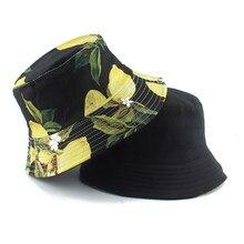 Chapeau seau réversible imprimé citron pour femmes et hommes, bob à deux couches, style Hip Hop, Gorros, pêcheur, automne