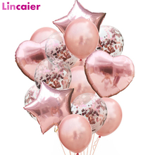 14pcs Rose Gold Confetti Latex Balloons Set Star Heart Shape Foil Ballon Birthday Party Decorations Kids Adult Babyshower 1st