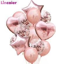 Ballons or Rose en Latex avec confettis, 14 pièces, Set, en forme de cœur, étoile en aluminium, décorations pour anniversaire, fête prénatale, pour enfants et adultes