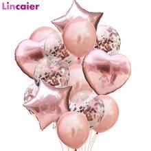 Globos de látex de confeti de oro rosa para niños y adultos, conjunto de globos de aluminio con forma de estrella y corazón, decoraciones para fiesta de cumpleaños, Babyshower 1st, 14 Uds.