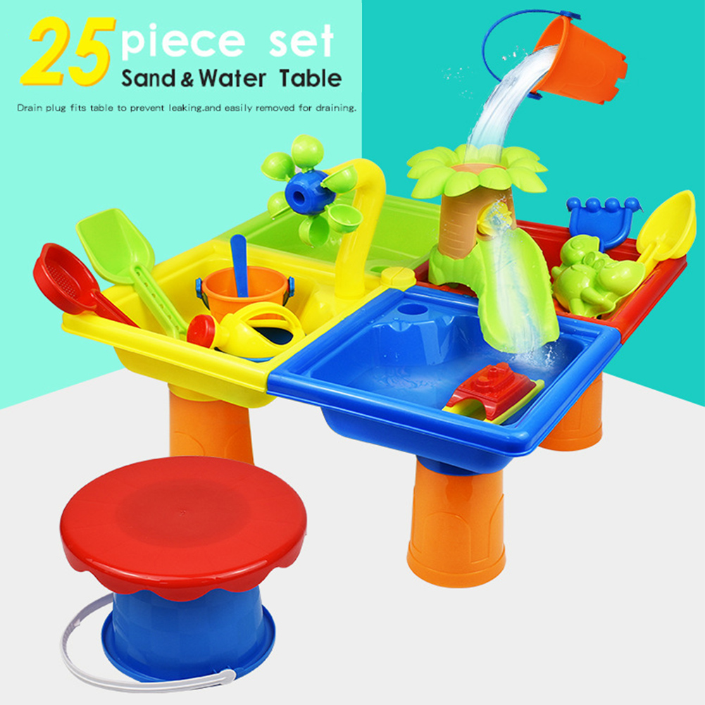 25pcs Seaside Sand Water Table Outdoor Games Summer Kids Gift Beach Toy Set Digging Pit