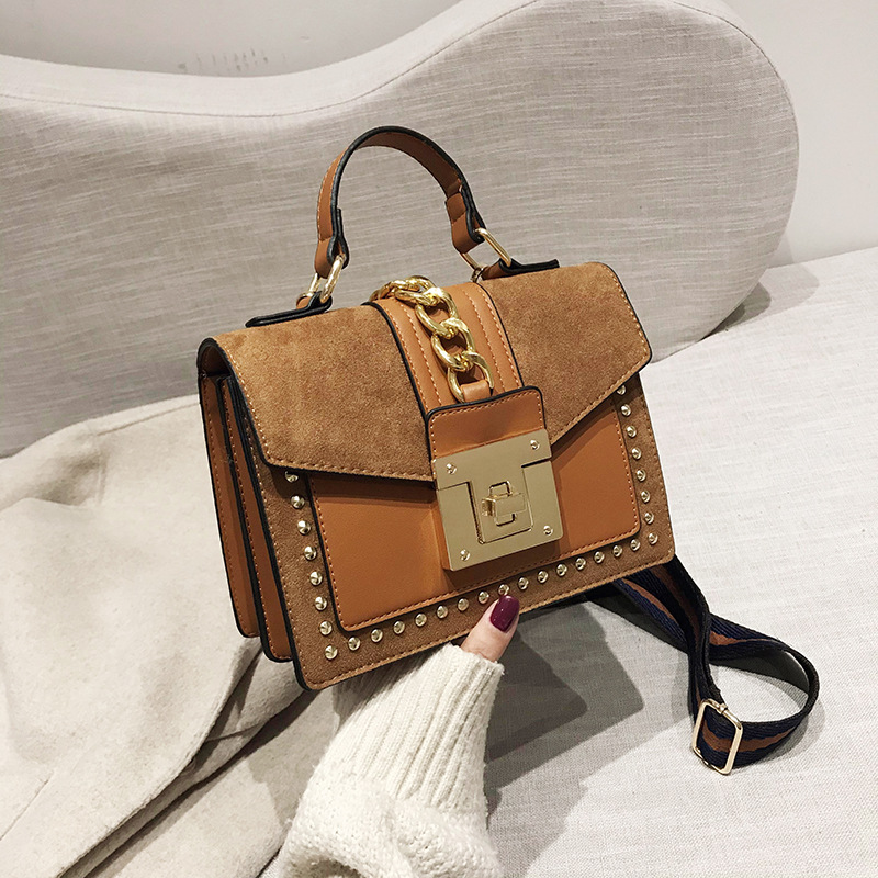 Vintage Suede Rivets Handbags Women Crossbody Bags 2020 Fashion Totes Ladies Shoulder Messenger Bag Clutches Female Purses