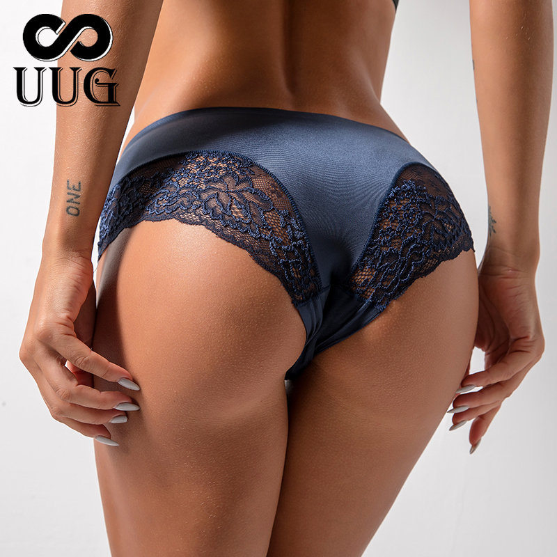 UUG <font><b>Sexy</b></font> <font><b>Women</b></font> Lace side Underwear Seamless Breathable Hollow <font><b>Briefs</b></font> Solid Color Woman Nylon Low Rise Lingerie <font><b>Sexy</b></font> Underwear image