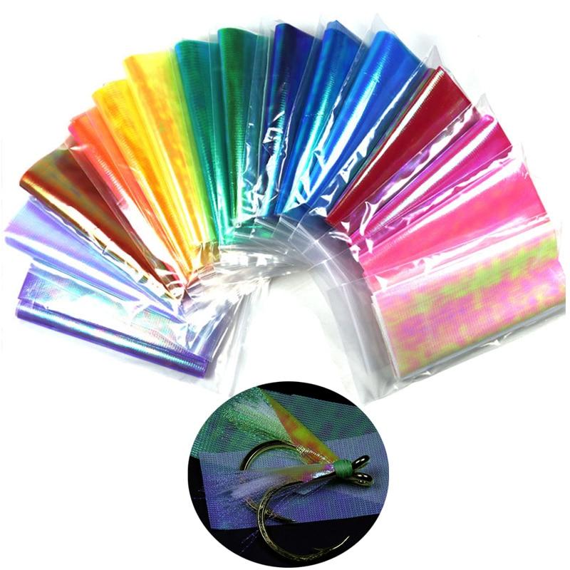 1 tasche 15cm X 110cm DIY Durable Sabiki Fisch Haut Assit Haken Flügel Material Sterengthened Mehrere Farbe Holographische flash Film
