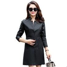 Plus Size 5XL 6XL Leather Coat Women 2019 Women Faux Leather Jacket Autumn Winter Long Slim Female Black Leather Trench Coat plus size faux leather panel coat