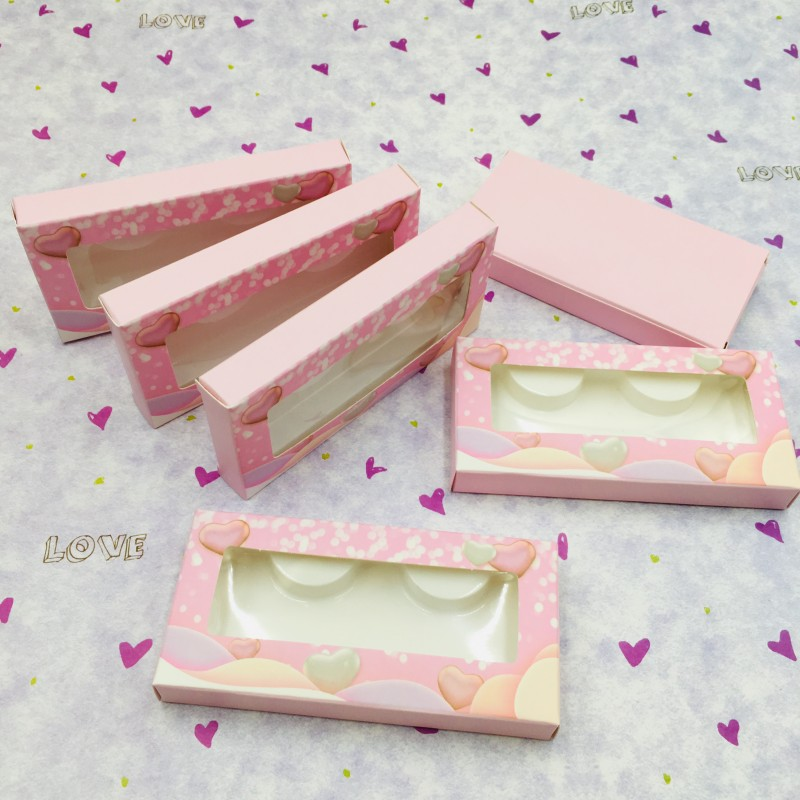 Valentines Eyelashes Packaging 20pcs/lot 50pcs/lot Soft Paper Box For 27mm 25mm Dramatic Lashes