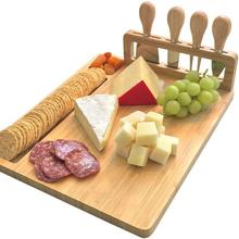 Bamboo Cheese Board Cutlery Knif Set Cutting Board with Steel Knives Cooking Tools Cheese Slicer Fork Scoop Cut