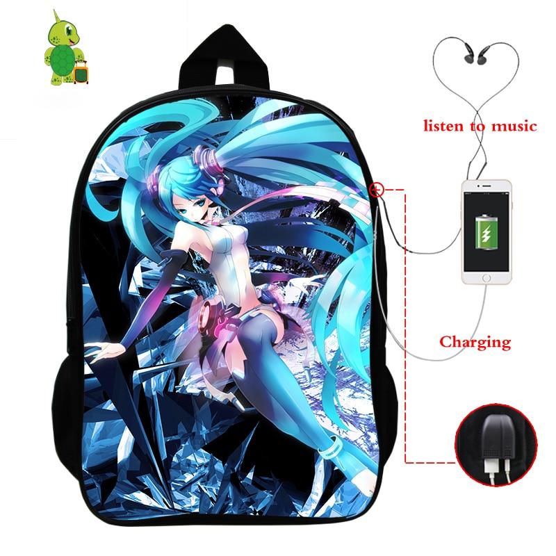 Anime Hatsune Miku Backpack School Bags For Teenagers Boys Girls USB Charge Backpack Multifunction Laptop Backpack Travel Bags