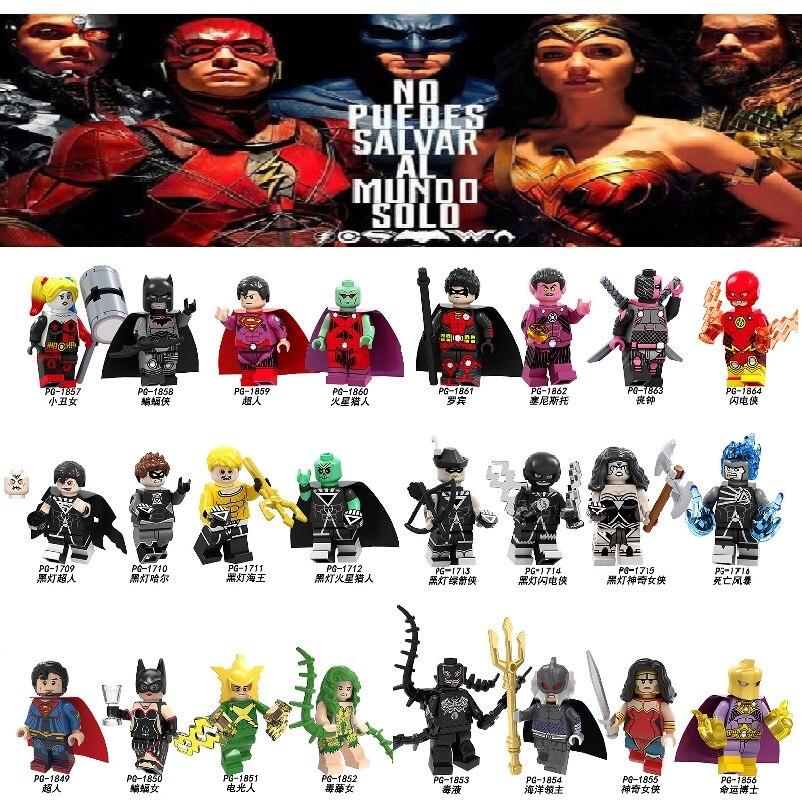 Building Blocks Super Heroes Batman Superman Martian Manhunter Sinestro Deathstroke Robin Dolls Figures For Children Toys PG8211