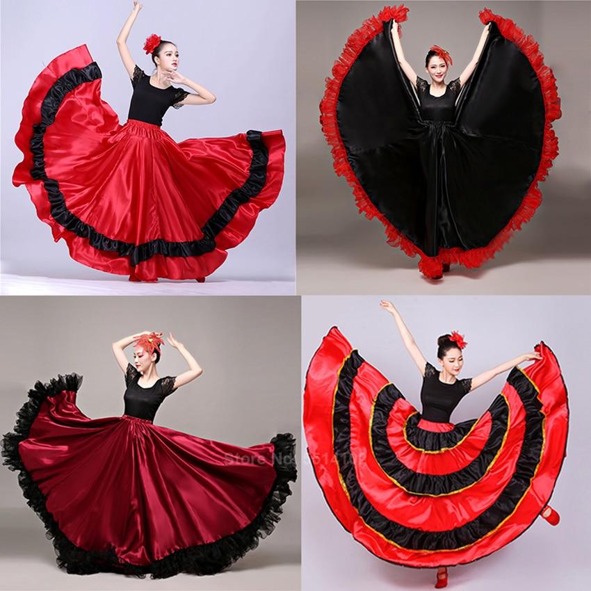 Adult Spainish Traditional Flamenco Skirt Satin Bullfighting Ruffle Swing Women Ballroom Professional Competition Stage Clothing
