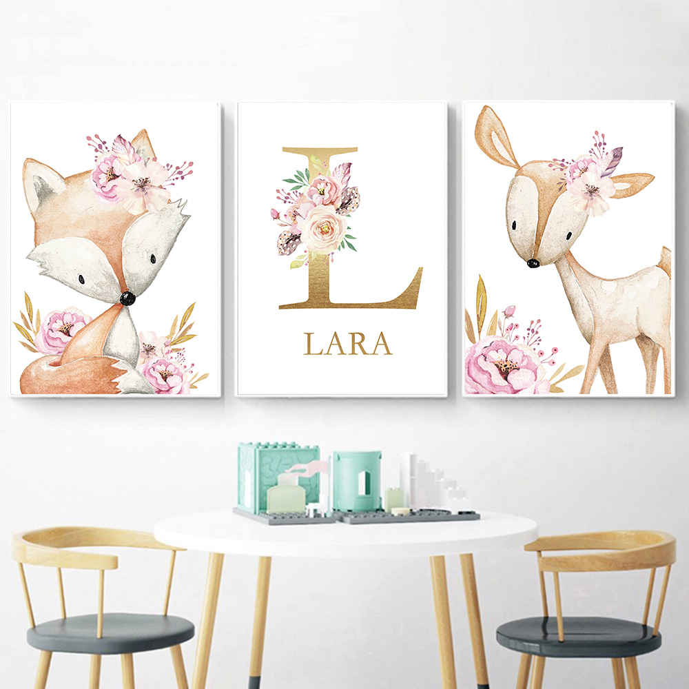 Woodland Animal Print Nursery Canvas Painting Custom Name Wall Art Pink Flowers Poster Nordic Wall Pictures Baby Girl Room Decor