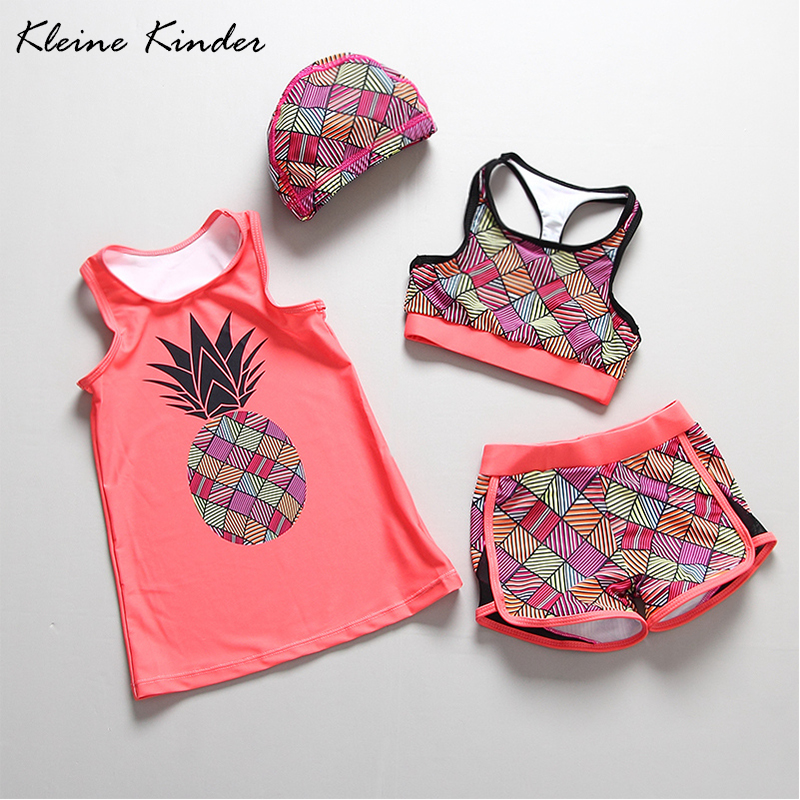 Swimwear Girl 4 Pieces Girls' Swimsuit Pineapple Print Child Bath Clothes Children Swimming Suit Toddler Swim Vest Beach Wear